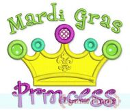 Mardi Gras Princess Crown Applique 4x4 5x7 6x10