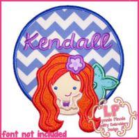Mermaid Circle Frame Applique 4x4 5x7 6x10 7x11