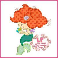 Mermaid Fish Cutie Applique 4x4 5x7 6x10 7x11