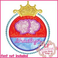 Mermaid Princess Frame Applique 4x4 5x7 6x10 7x11