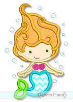 Underwater Mermaid Cutie Applique 4x4 5x7 6x10 SVG