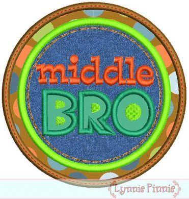 Middle Bro Double Circle Applique 4x4 5x7 6x10
