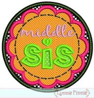 Middle Sis Applique Circle Scallop 4x4 5x7 6x10