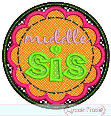 Middle Sis Applique Circle Scallop 4x4 5x7 6x10