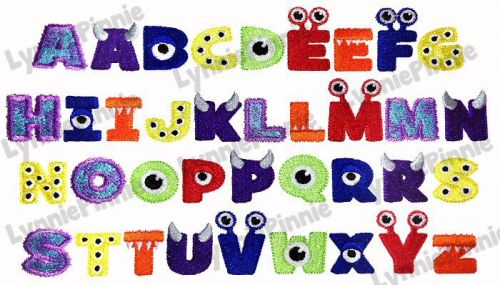 Little Monster Alphabet Embroidery Font - 3 sizes