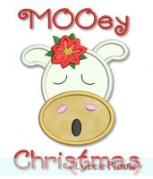 Mooey Christmas Cow Applique 4x4 5x7