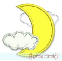 Free Crescent Moon with Clouds Applique 4x4