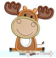 Baby Moose Applique 4x4 5x7 6x10
