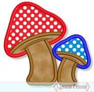 Mushroom Duo Applique 4x4 5x7 6x10