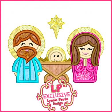 Cute Nativity Scene Applique 4x4 5x7 6x10 SVG