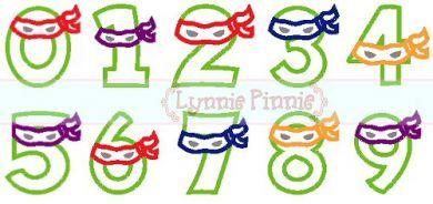 Ninja Numbers Exclusive LP Applique Set 0-9 4x4 5x7 6x10