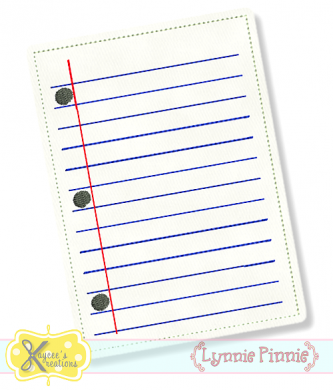 Notebook Paper Applique 4x4 5x7 6x10 *KCK*