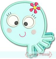 Cutie Octopus Girl Applique 4x4 5x7