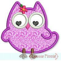 Olivia Owl Applique 4x4 5x7 6x10