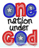 One Nation Under God Applique 4x4 5x7 6x10