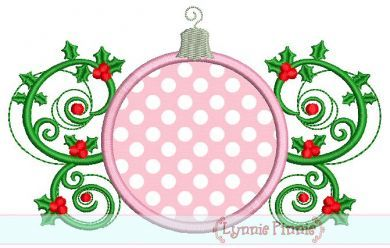 Christmas Ornament Flourish Applique 4x4 5x7 6x10 SVG