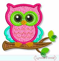 Owl on Branch Applique 4x4 5x7 6x10 7x11