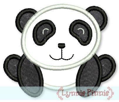 Panda Bear Applique 4x4 5x7 6x10