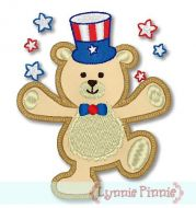 Applique Patriotic Bear 4x4 5x7
