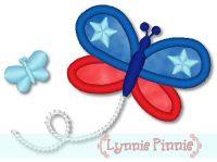 Applique Patriotic Butterfly 4x4 5x7