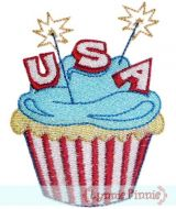 Patriotic Cupcake -Filled 4x4 5x7