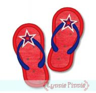 Applique Patriotic Flip Flops 4x4 5x7 6x10