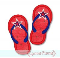 Applique Patriotic Flip Flops 4x4 5x7 6x10