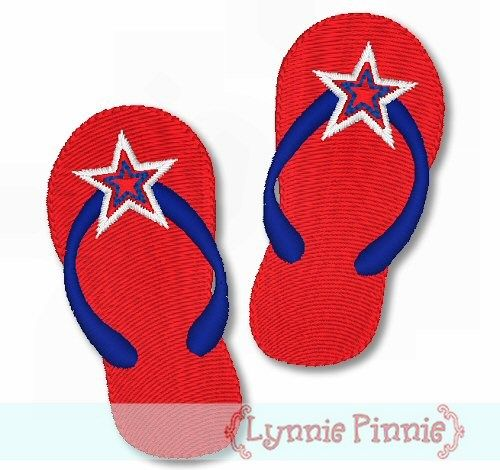 Patriotic Flip Flops - Filled 4x4 5x7