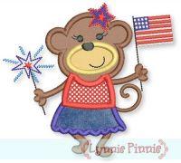 Patriotic Monkey Girl Applique 4x4 5x7 6x10