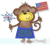 Patriotic Monkey Boy Applique 4x4 5x7 6x10