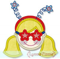 Patriotic Star Glasses Girl 4x4 5x7 6x10