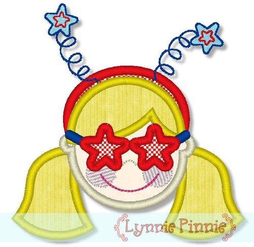 Patriotic Star Glasses Girl 4x4 5x7 6x10
