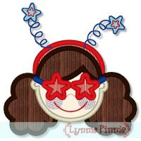 Patriotic Star Glasses Girl Curly Hair 4x4 5x7 6x10