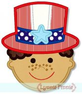 Patriotic Hat Boy Curly Hair 4x4 5x7 6x10