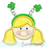 Girl w/ Shamrock Headband Applique (straight hair) 4x4 5x7 6x10