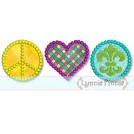 Peace Love Mardi Gras Applique 4x4 5x7 6x10