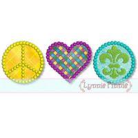 Peace Love Mardi Gras Applique 4x4 5x7 6x10