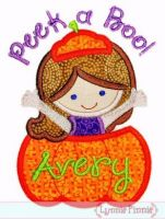 Peek A Boo Pumpkin Girl Applique 4x4 5x7 6x10
