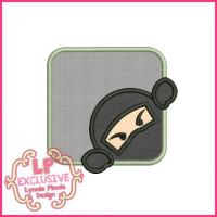 Peeking Ninja Applique 4x4 5x7 6x10 7x11 SVG