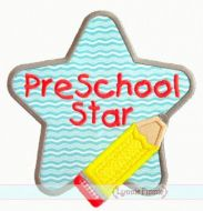 Pencil Star Applique 4x4 5x7 6x10 7x11 SVG