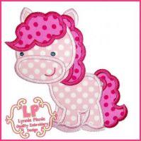 Pretty Pink Pony Applique 4x4 5x7 6x10 7x11 SVG