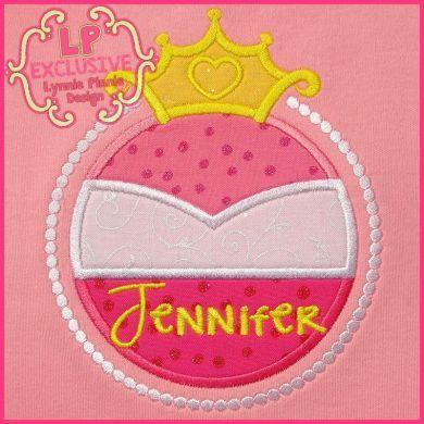 Pink Princess Frame Applique 4x4 5x7 6x10 7x11