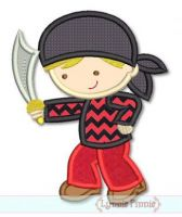 Pirate Boy Cutie Applique 4x4 5x7 6x10 SVG