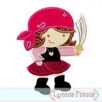 Pirate Girl Cutie Applique 4x4 5x7 6x10 SVG