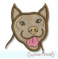 Pit Bull Dog Applique 4x4 5x7