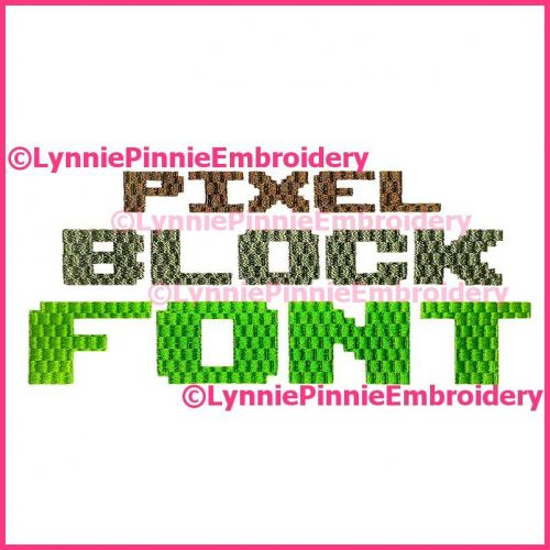 Pixel Block Simple Embroidery Font -- 3 Sizes