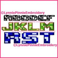 Pixel Block Multicolor Exclusive LP Embroidery Font -- 3 Sizes