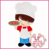 Pizza Chef Cutie Boy Applique 4x4 5x7 6x10