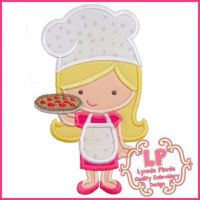 Pizza Chef Cutie Girl Applique 4x4 5x7 6x10