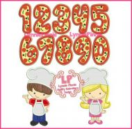 Pizza Party Applique Set with Exclusive LP Pizza Numbers 4x4 5x7 6x10